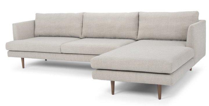 Mid Century Light Gray Sectional Sofa