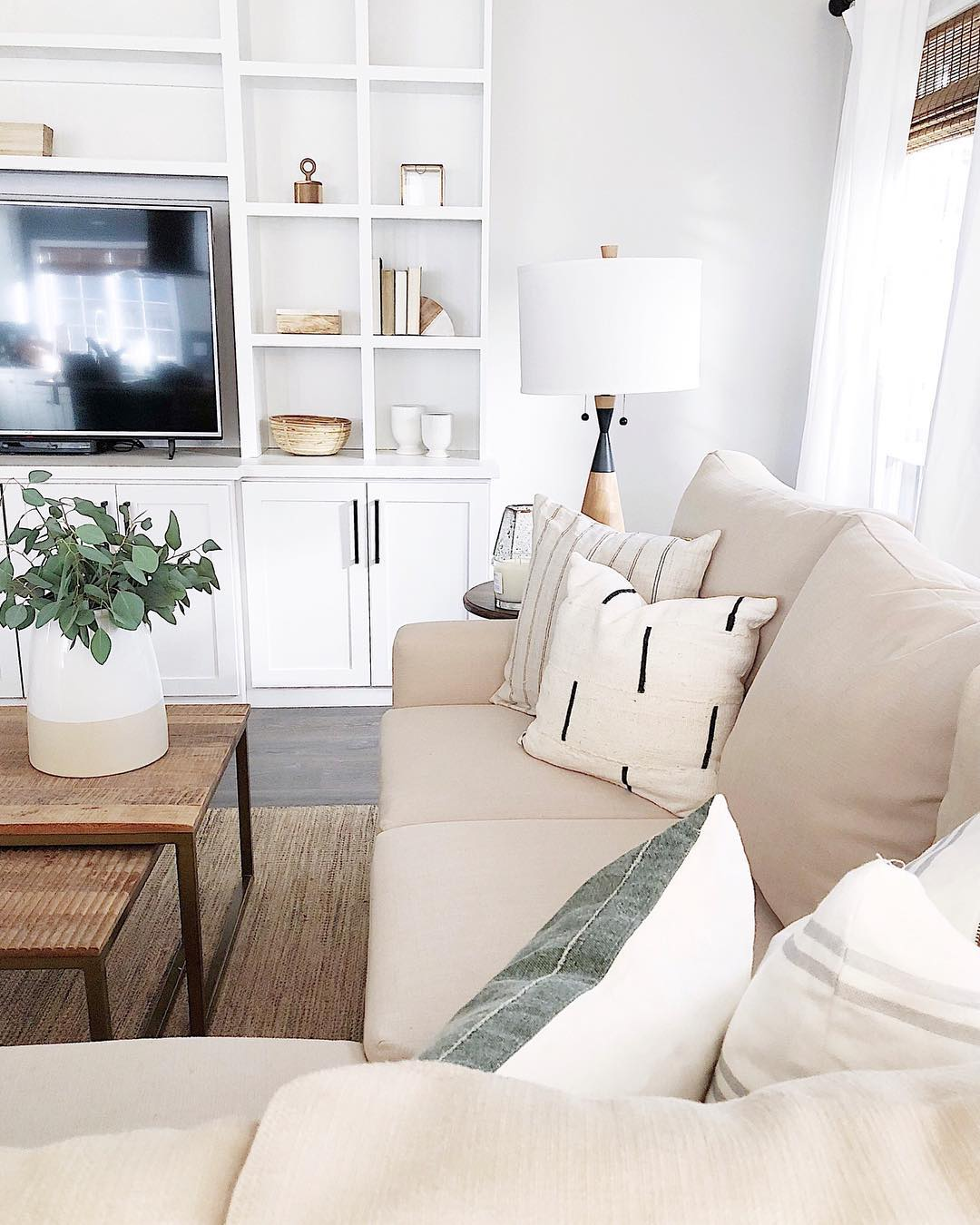 Modern farmhouse neutral sofa in living room