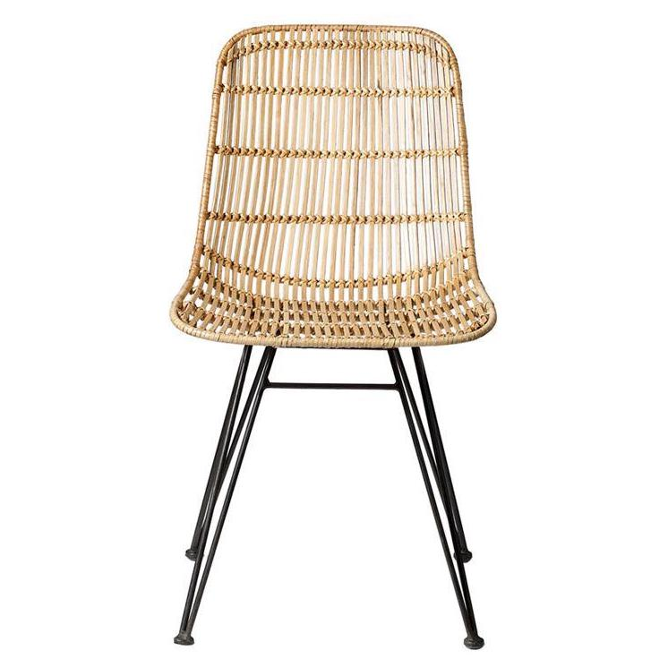 Natural Braided Rattan Chair with Black Metal Frame - BD Edition