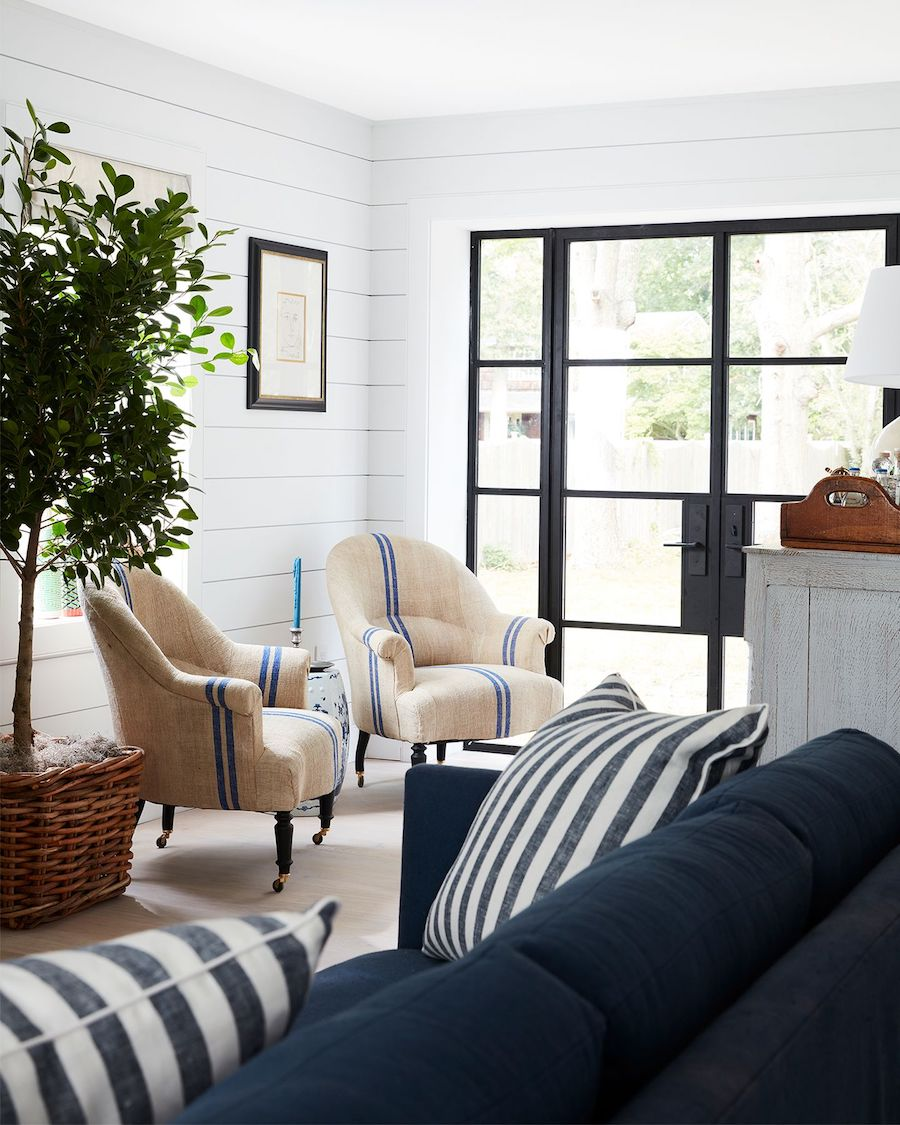 Nautical Accent Chairs with Blue Stripe