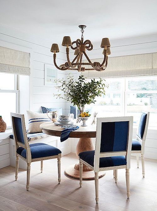 Nautical Dining Room with Rope Chandelier and Navy Louis Chairs