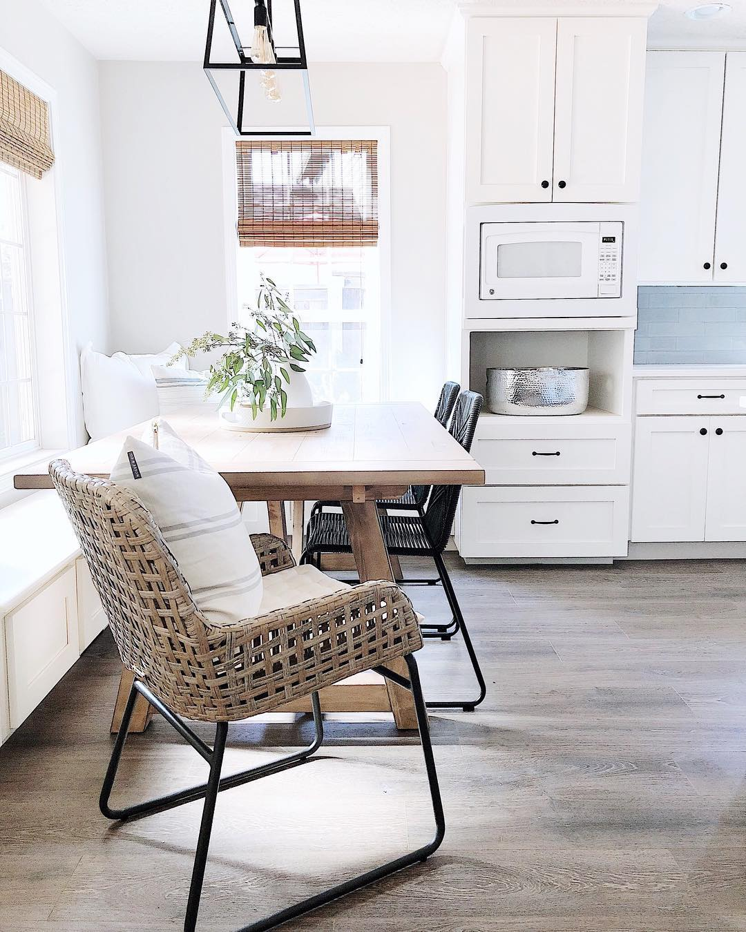 Neutral Breakfast Nook with natural weave chair