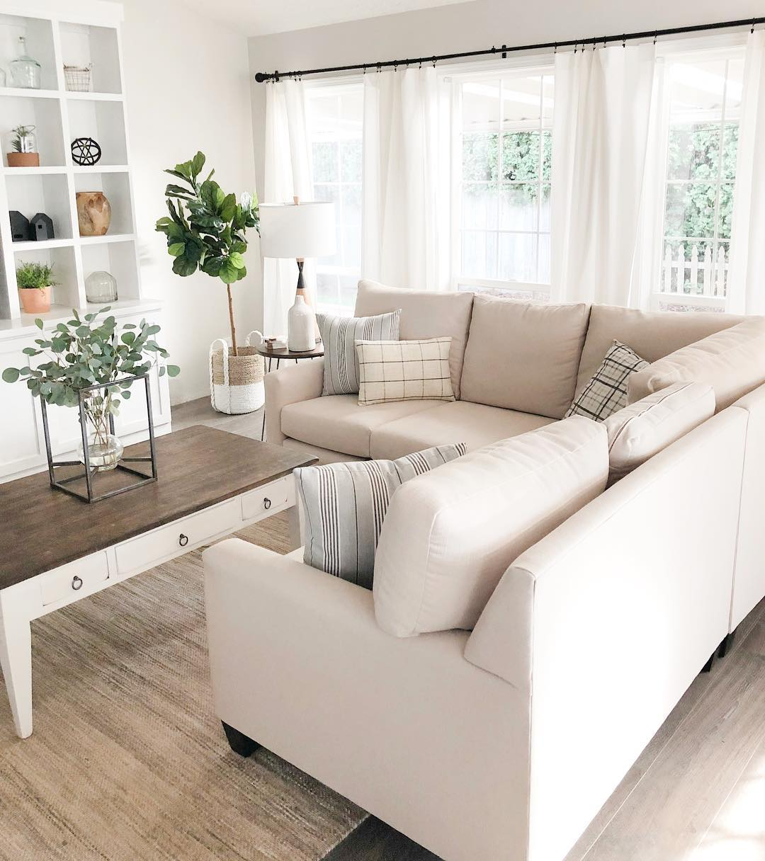 Neutral Living Room sofa in Farmhouse Style home
