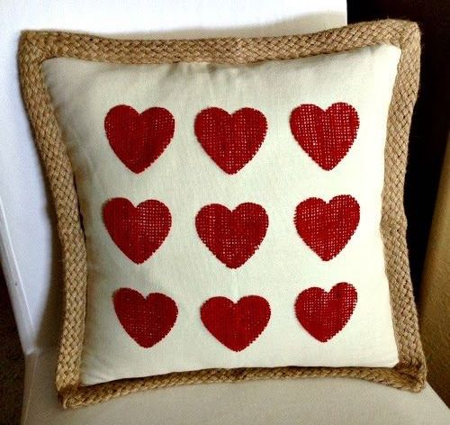 No Sew Burlap Hearts Pillow DIY via inspirationformoms