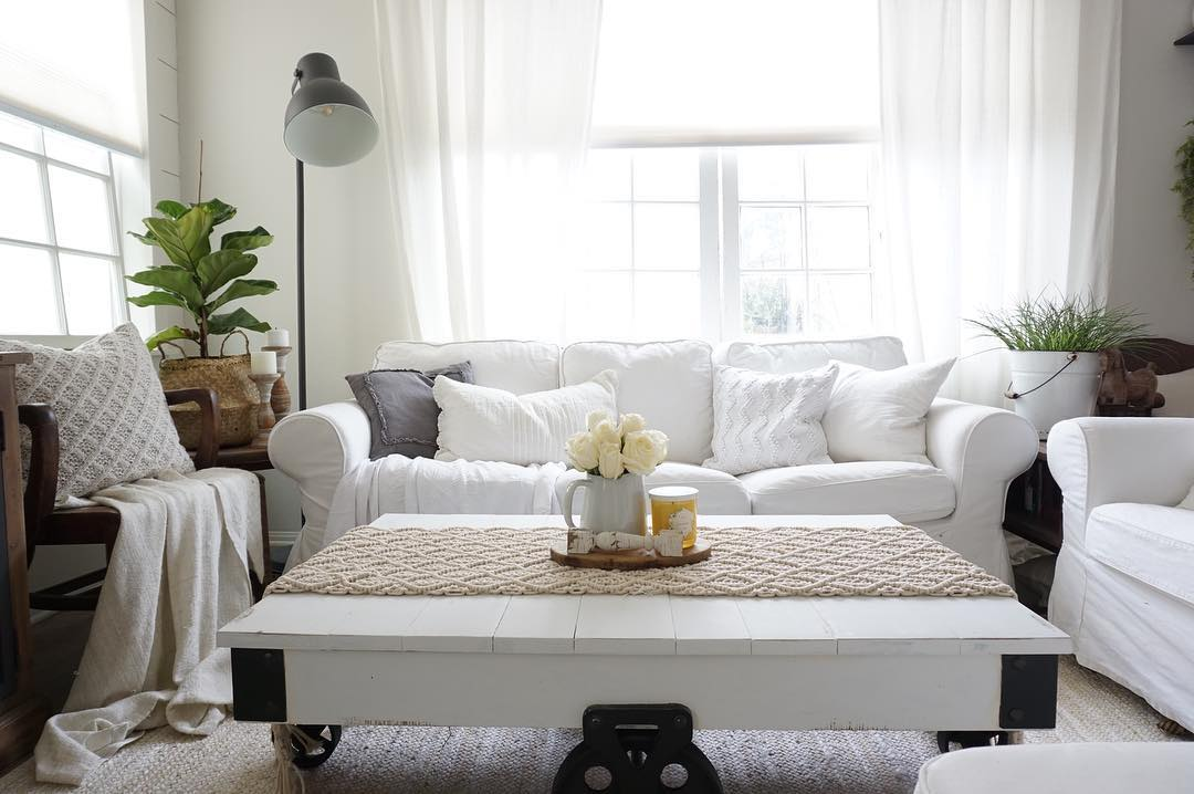 Plush white farmhouse sofa in living room
