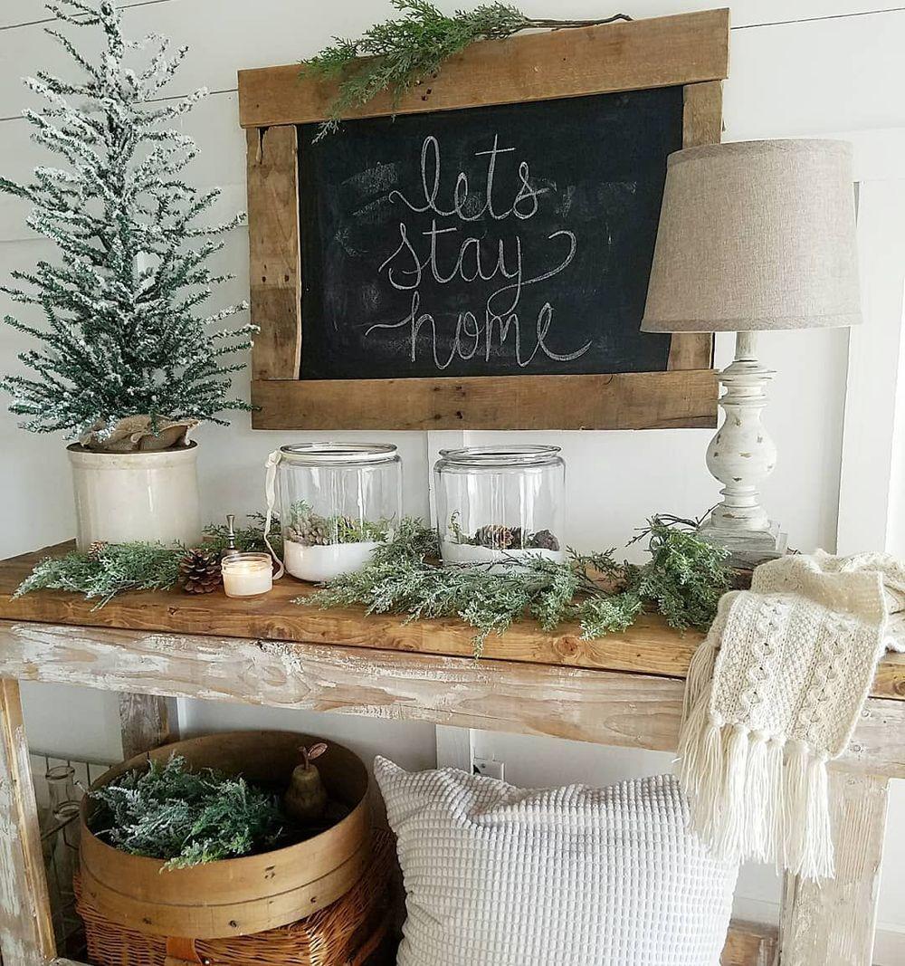 Rustic winter console table decor