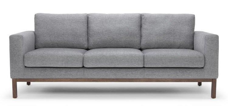 Scandinavian Light Gray Sofa with wood base - Noelle