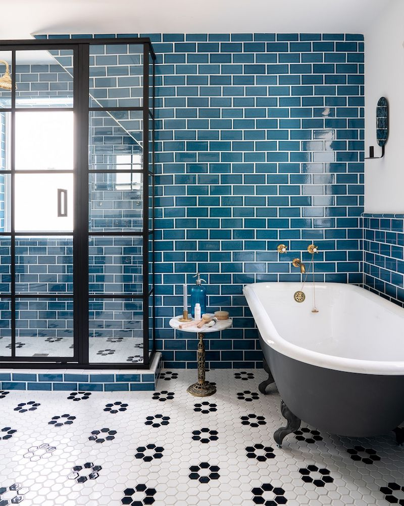 Sea blue subway tile in Nautical bathroom style