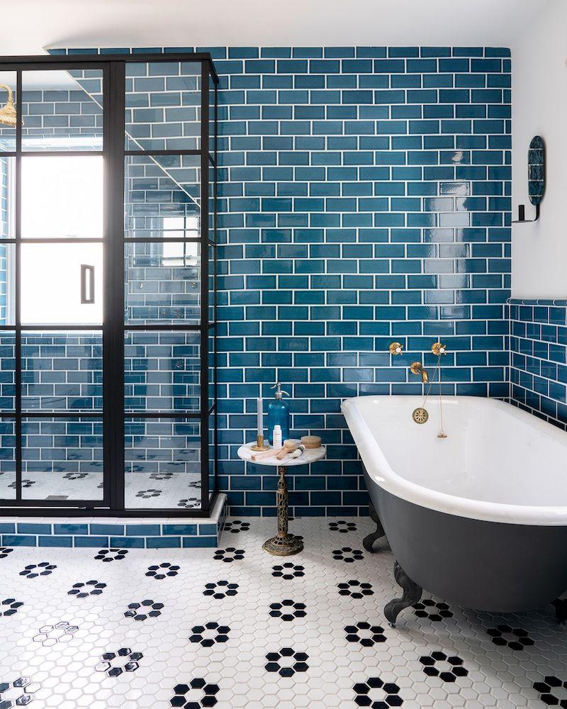 Sea blue subway tile in Nautical bathroom style