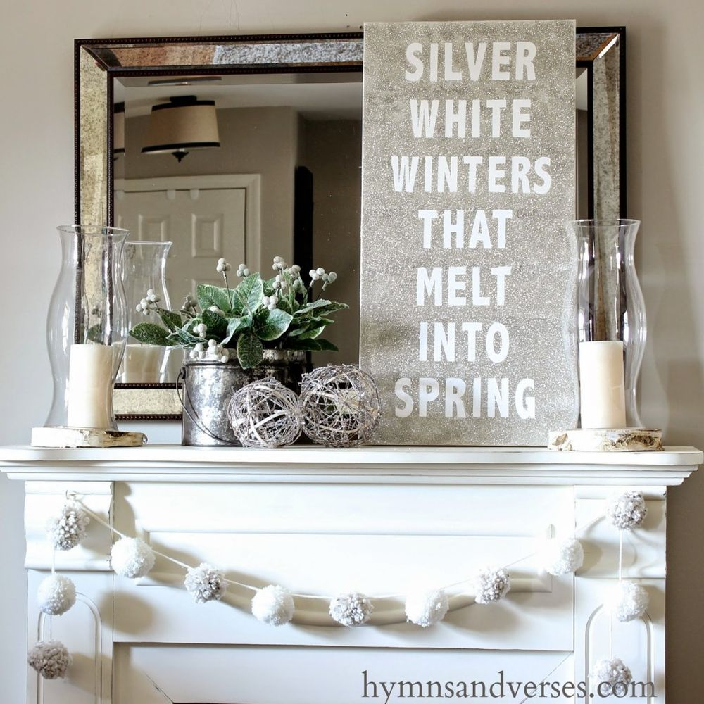 Silver winter mantel decor via hymnsandverses