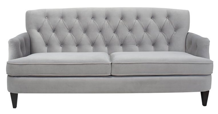 Tufted light gray sofa - Kaylynn