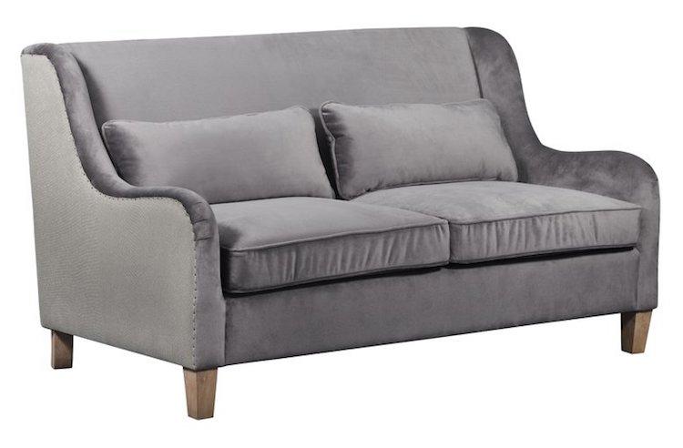 Two Toned Gray Velvet Sofa