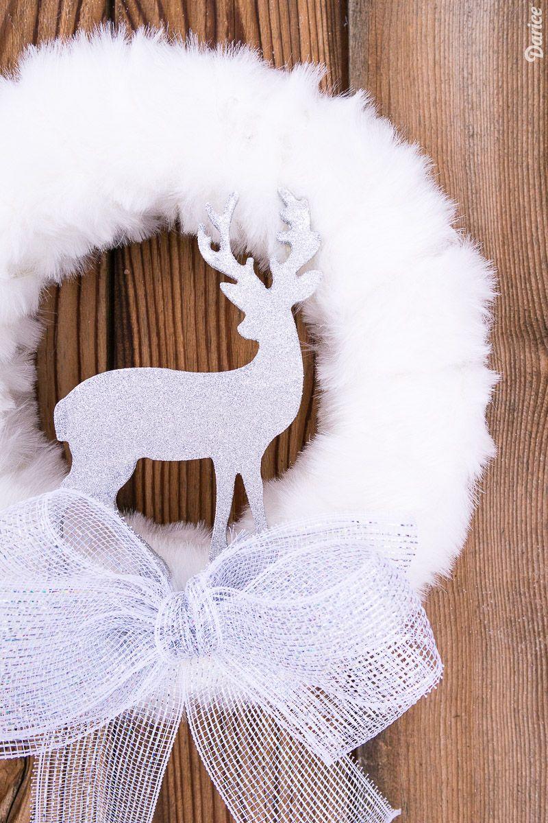 White Fur and Glitter DIY Winter Wreath via darice