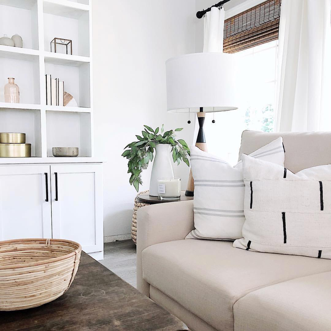 White shelves in Neutral Living Room