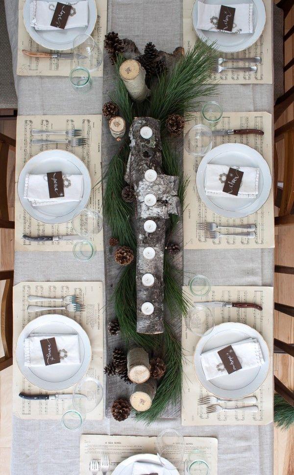 Winter candle log centerpiece via simplebites