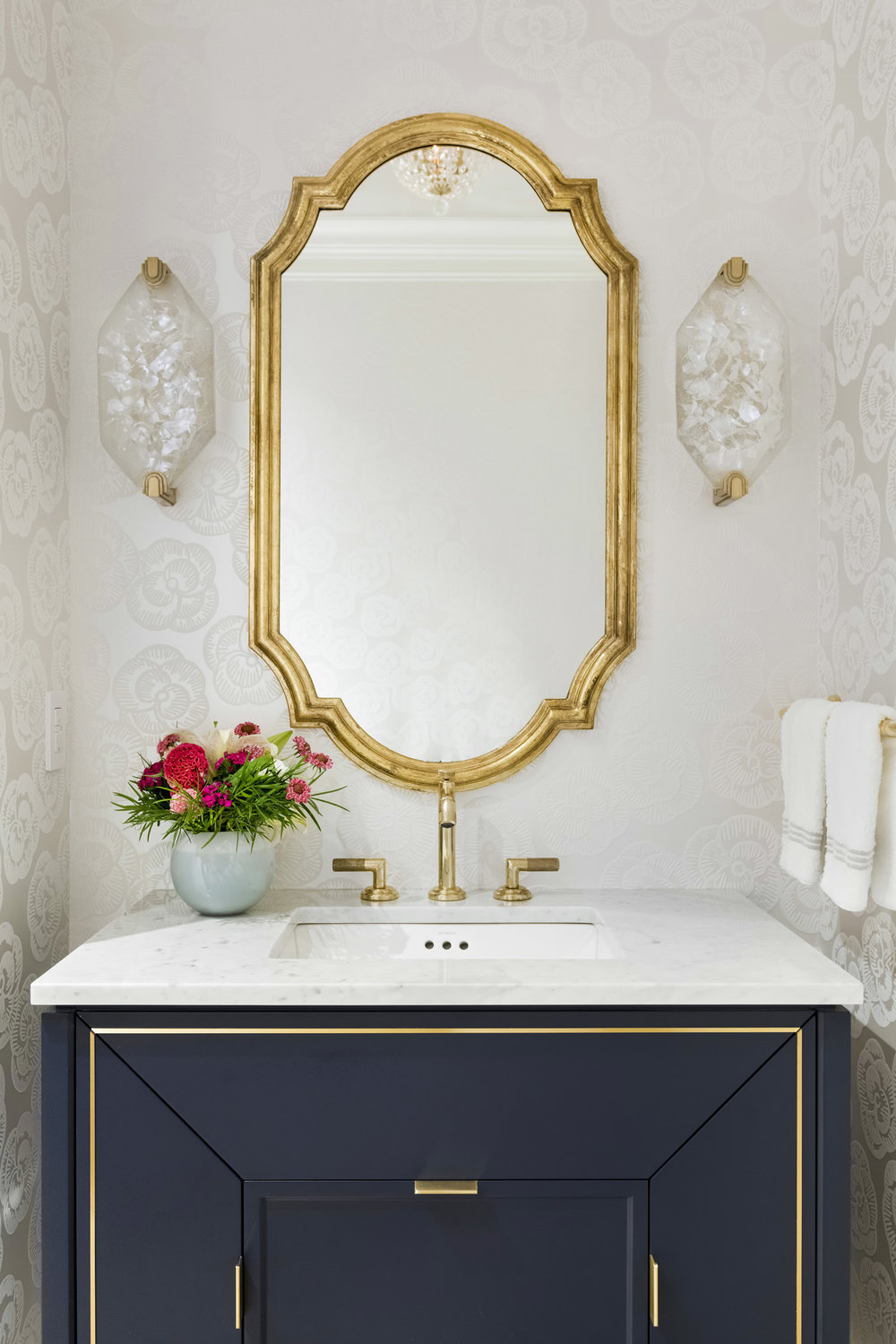 Brass Bathroom mirror via RLH Studio