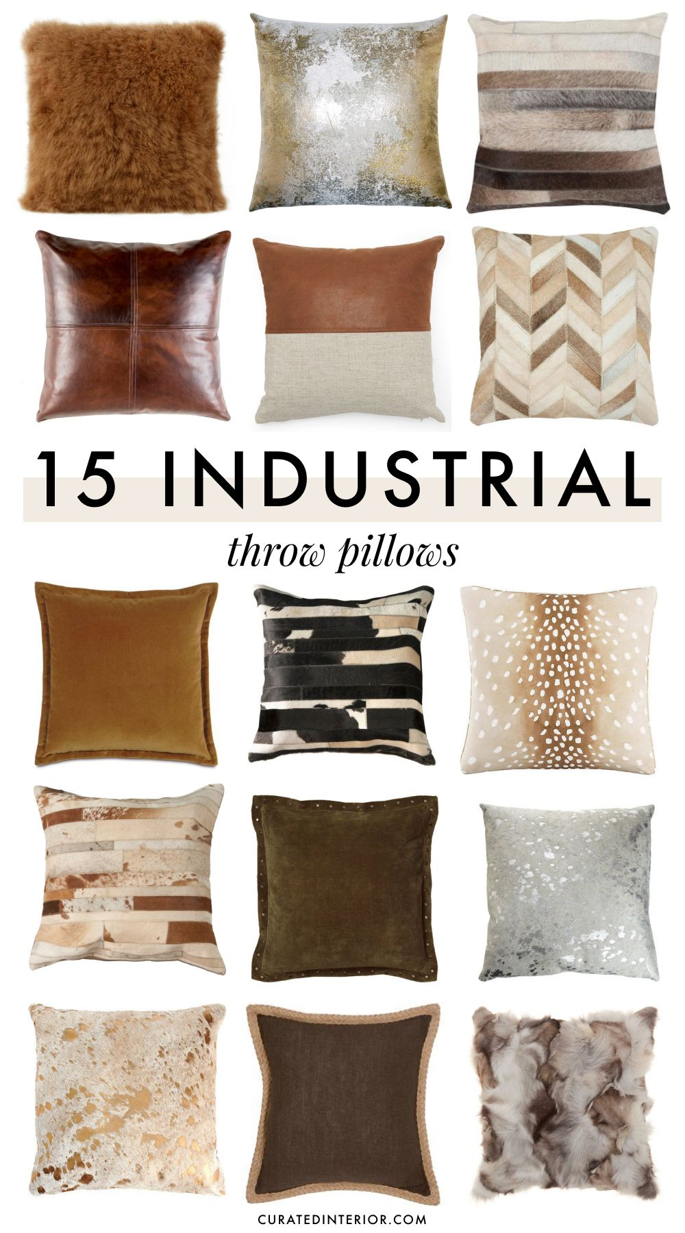 15 Industrial Throw Pillows for an Urban Vibe