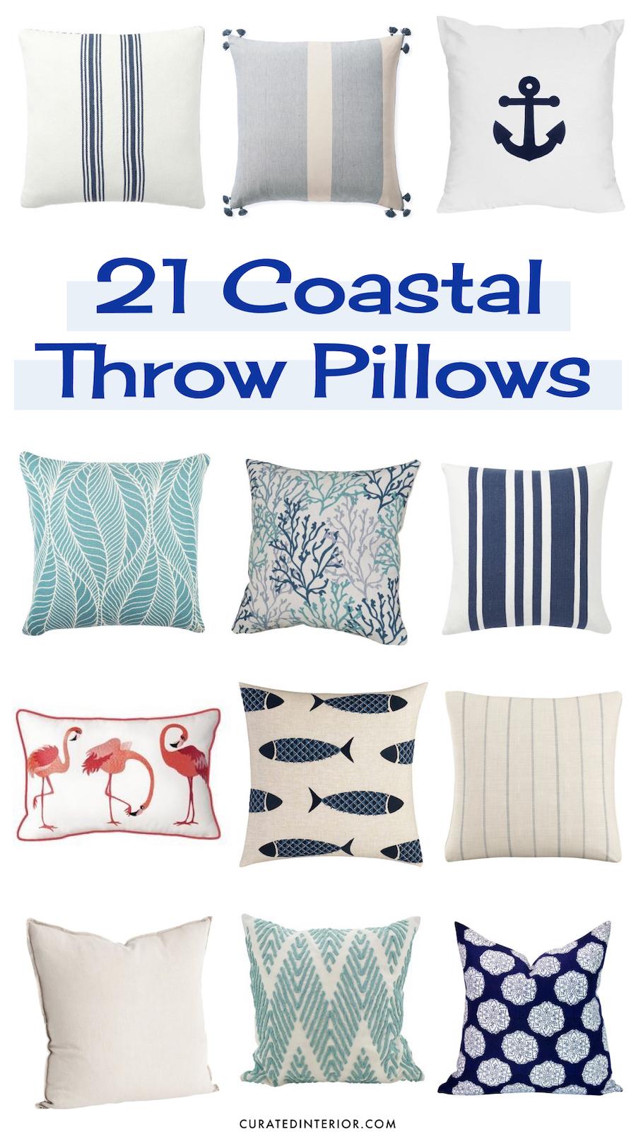 21 Coastal Throw Pillows for a beach home