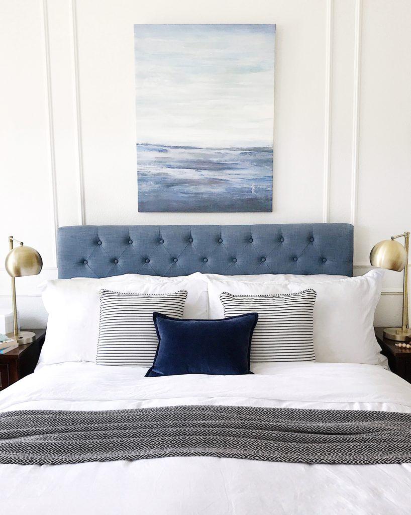 Faded Blue tufted headboard via Jane at Home
