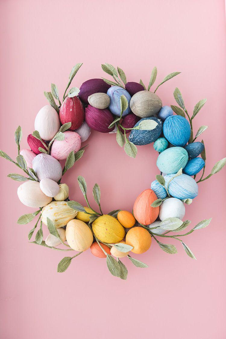 Colorful Easter Egg Wreath DIY via thehousethatlarsbuilt