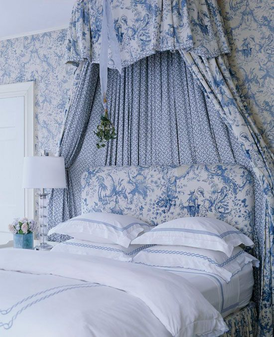 Country Decor Toile Bedroom via Traditional Home