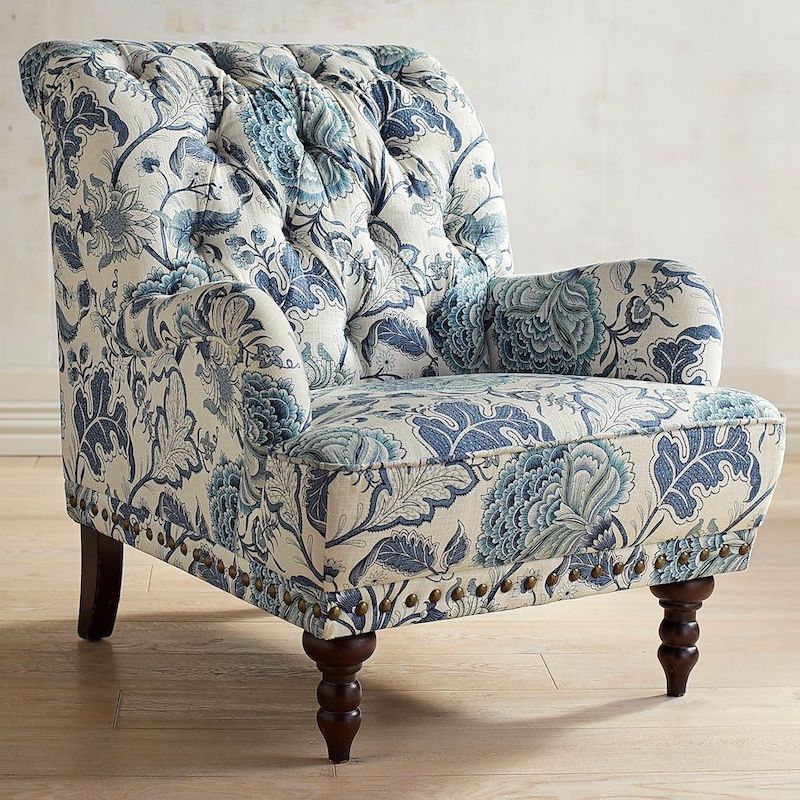 Country Tufted Accent Blue Floral Armchair via Pier1