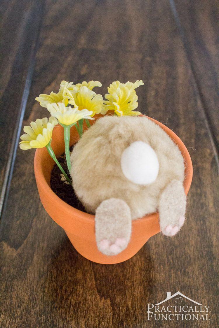 Curious Bunny Flower Pot DIY Decor Easter via practicallyfunctional
