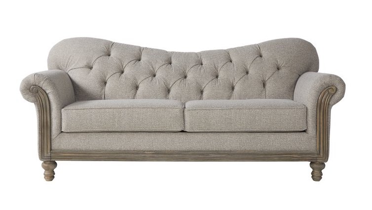 Curved Back Farmhouse Tufted Sofa