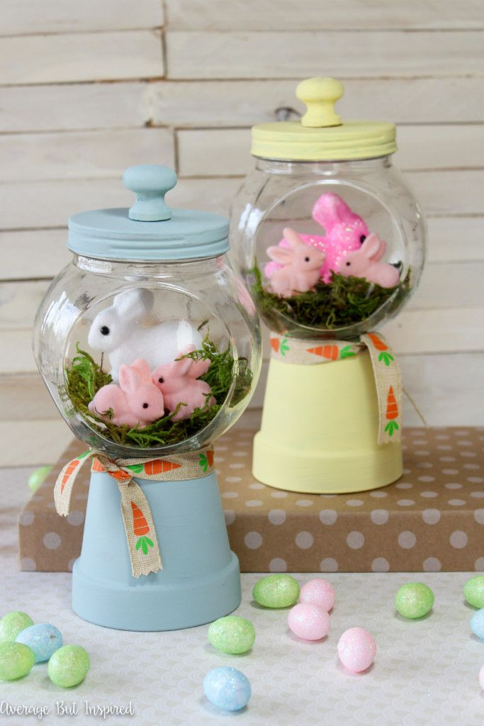 DIY Bunny Gumball Machine Craft Decor Project via AverageInspired