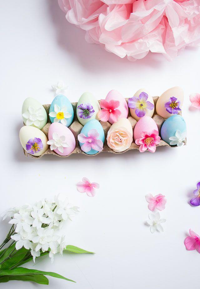 DIY Floral Easter Egg Decor Idea via designimprovised