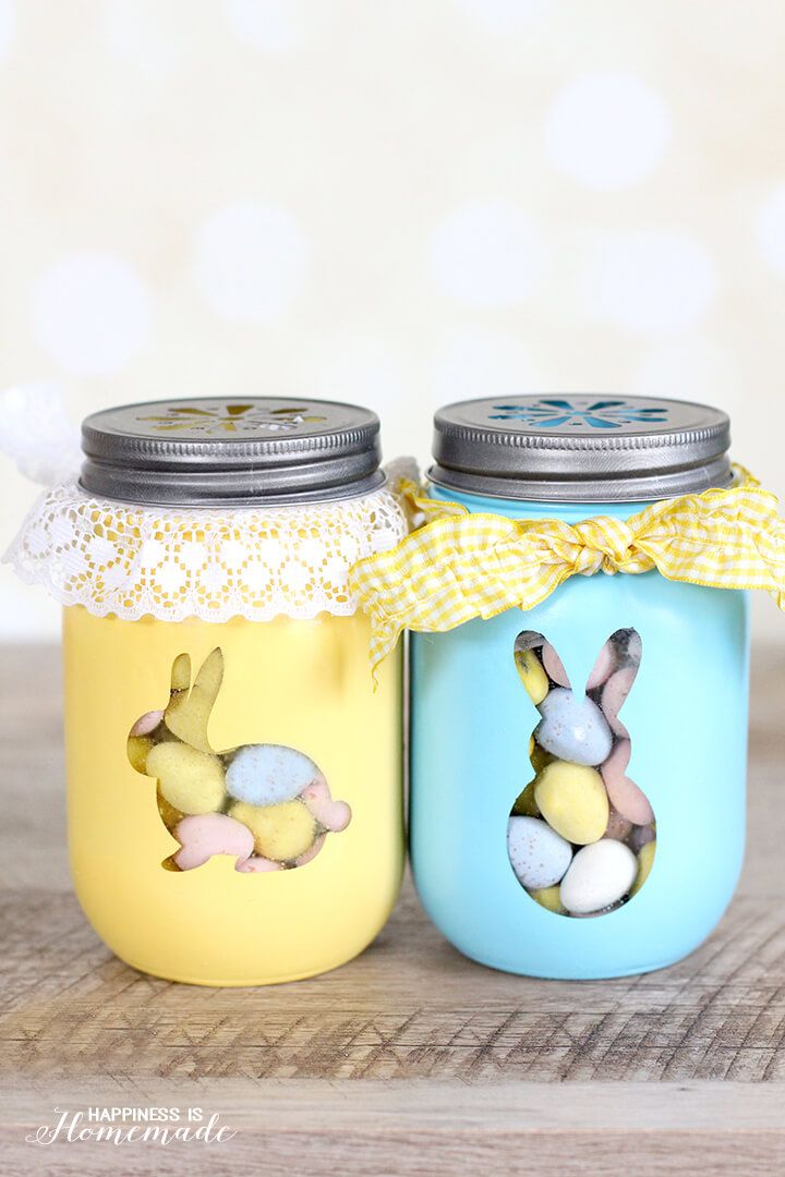 Easter Bunny Treat Jars Pastel DIY Project Craft via happinessishomemade