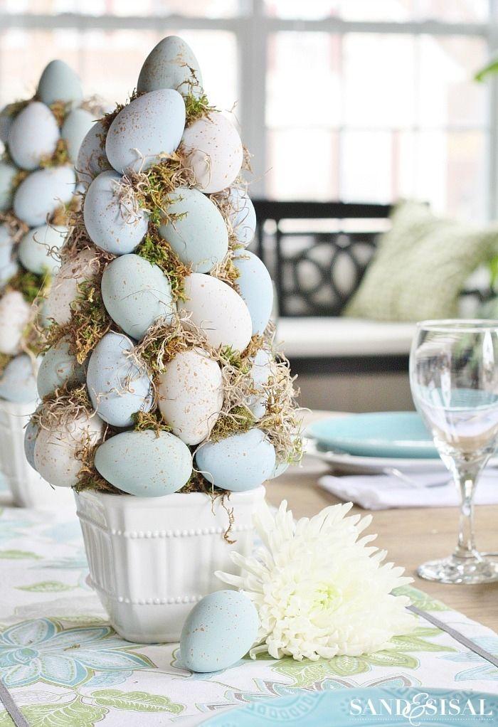 Easter Egg Topiary Tree DIY Decor via sandandsisal