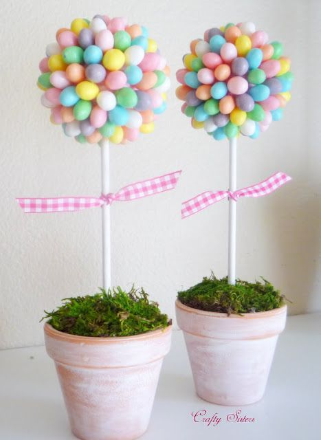 Easter Egg Topiary Tree Pastel DIY Craft via craftysisters-nc