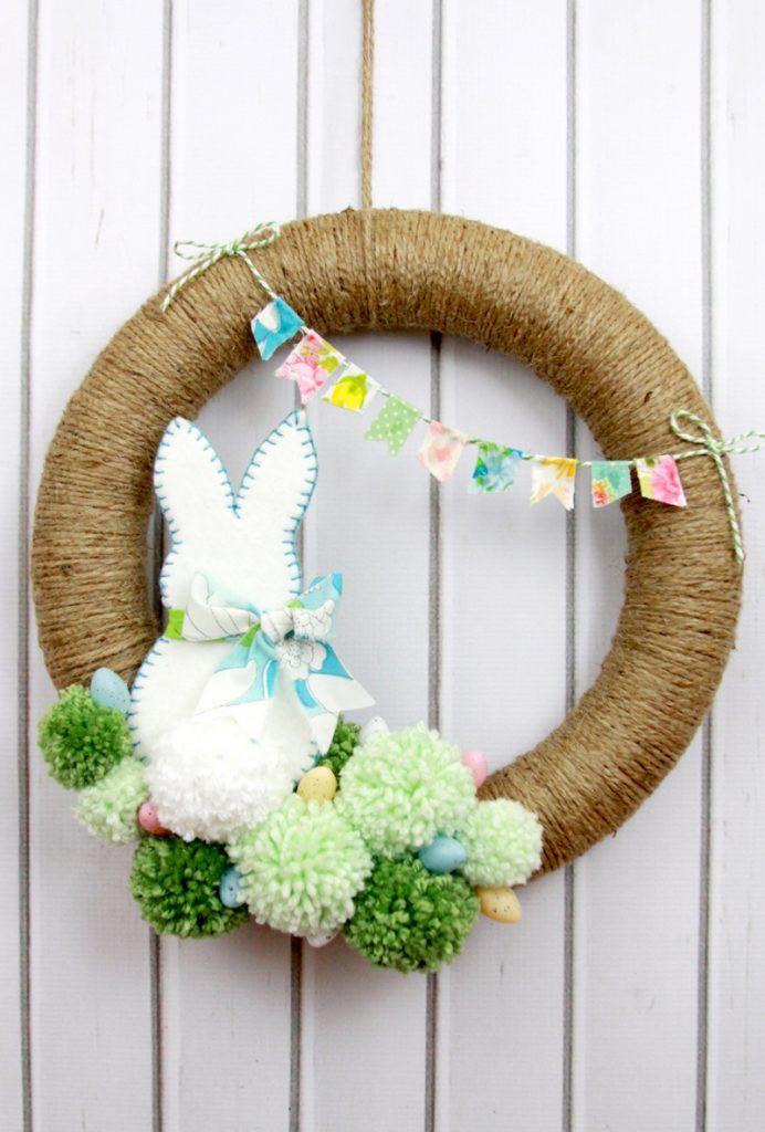 Easter Pom Pom Wreath DIY Bunny Decor via Lil Luna