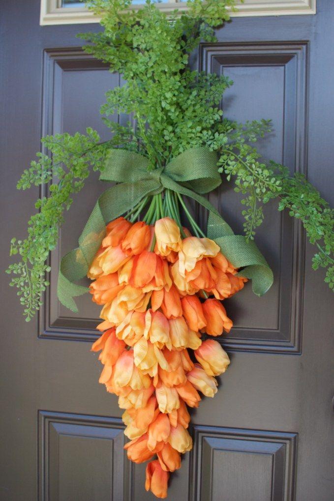 Easter carrot door hanger DIY Decor via lovethetompkins