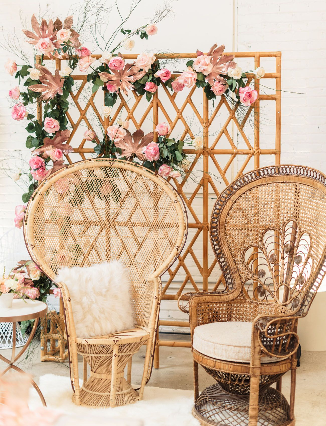 Floral Peacock Chairs via greenweddingshoes