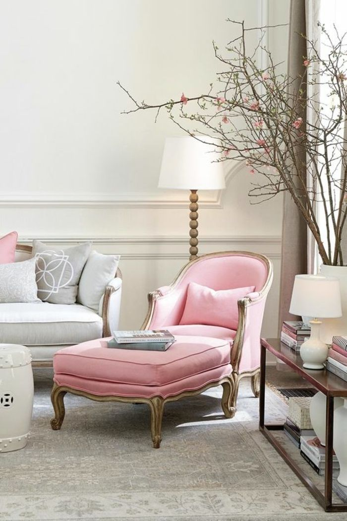 French style pink chaise lounge