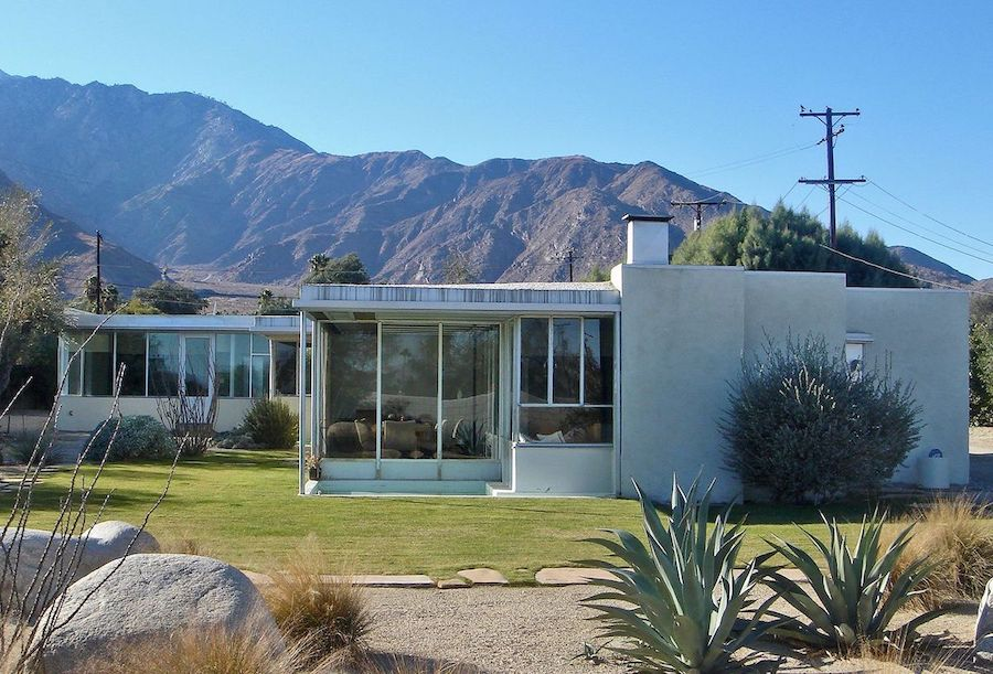 Glass walls and Large Glass Windows in the Miller House, by Richard Neutra in Palm Springs, California