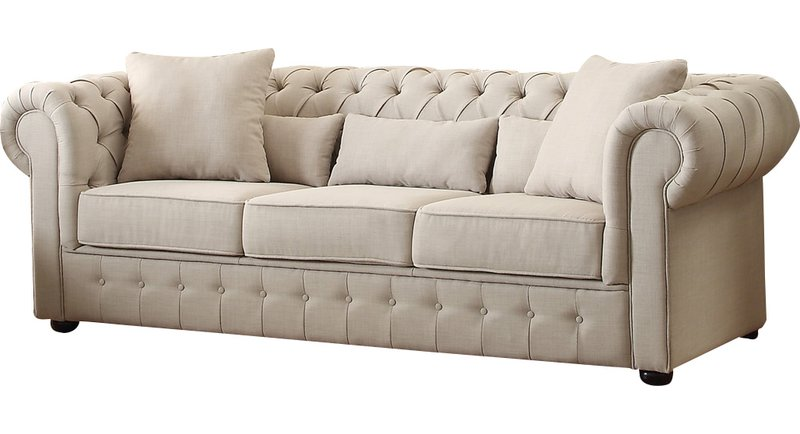 Neutral Farmhouse Chesterfield Sofa
