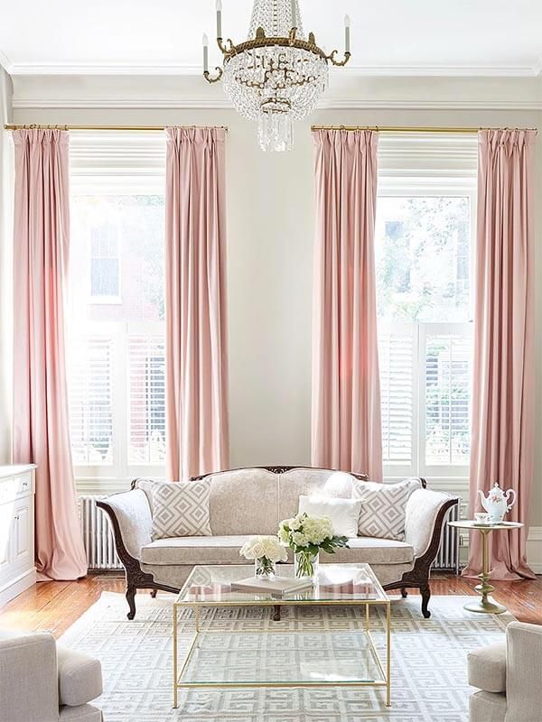 Pink living room curtains