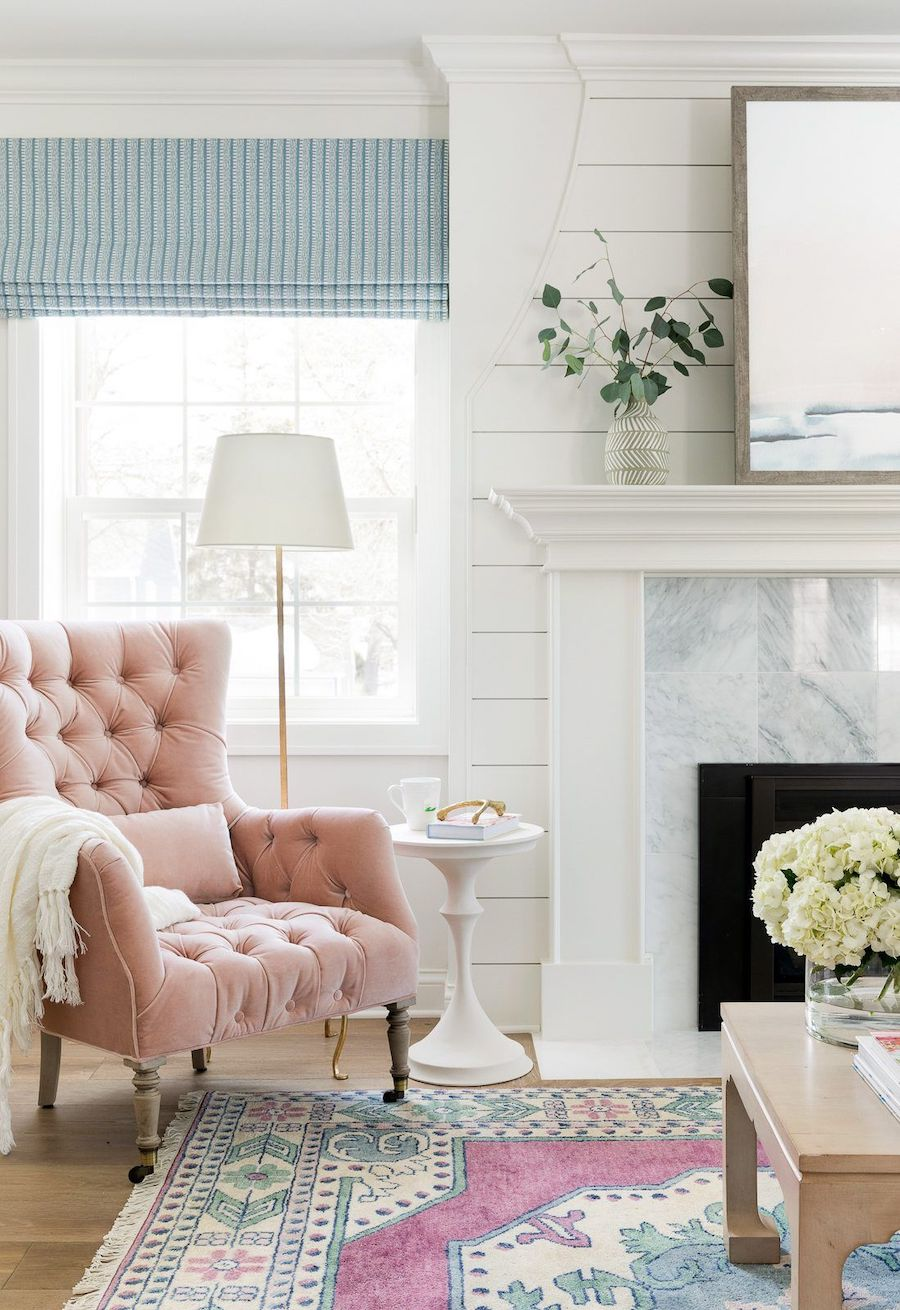 Pink tufted accent chair via Bria Hammel Interiors