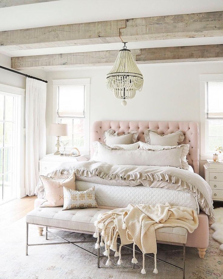 Pink tufted headboard via The Cross Decor & Design