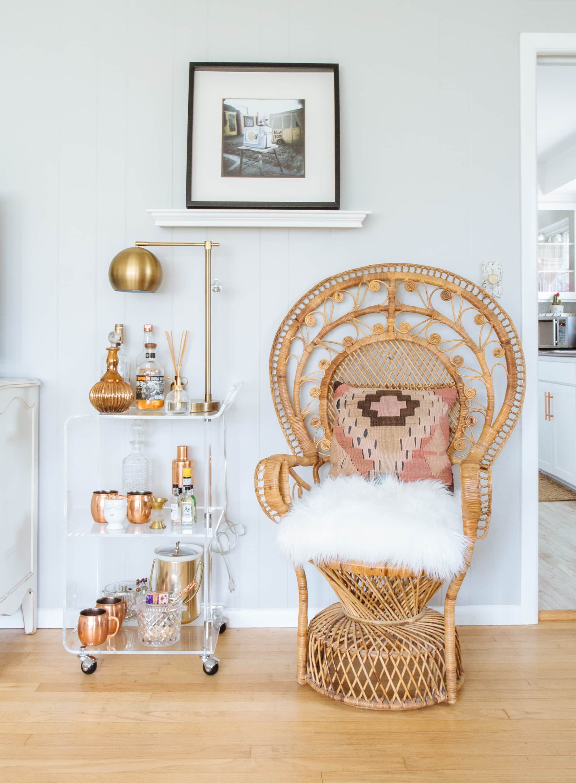 Rattan peacock chair via Diana Paulson and Apartment Therapy