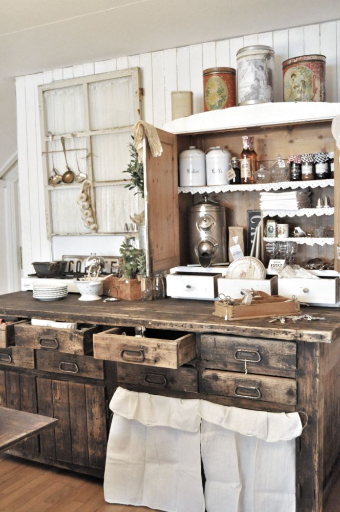 Rustic wood kitchen cabinets