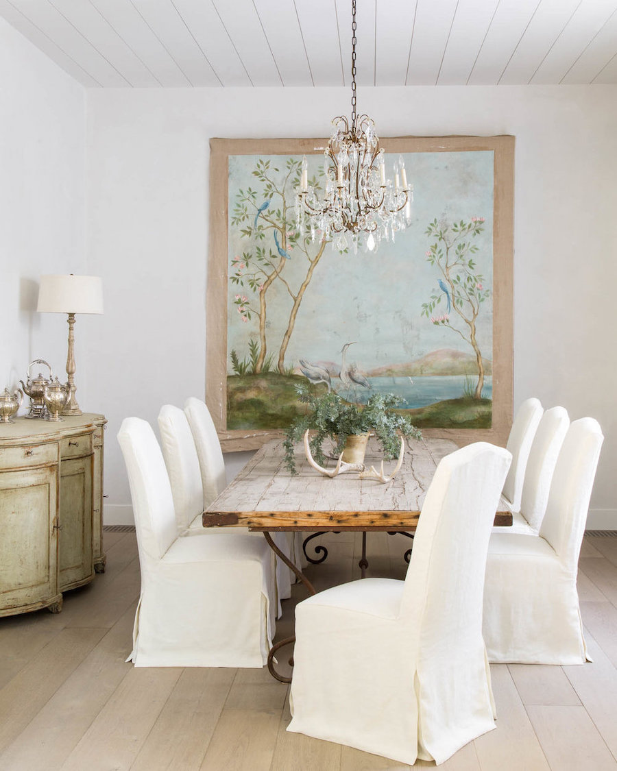 Slipcover dining chairs in Country Dining Room via Giannetti Home