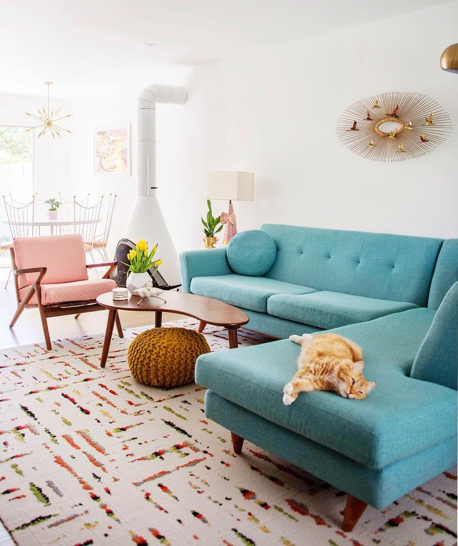 Turquoise mid-century modern sofa sectional via @melodrama