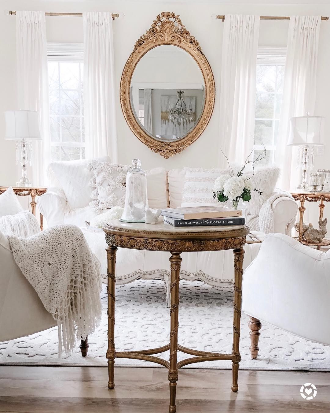 White french country sofa