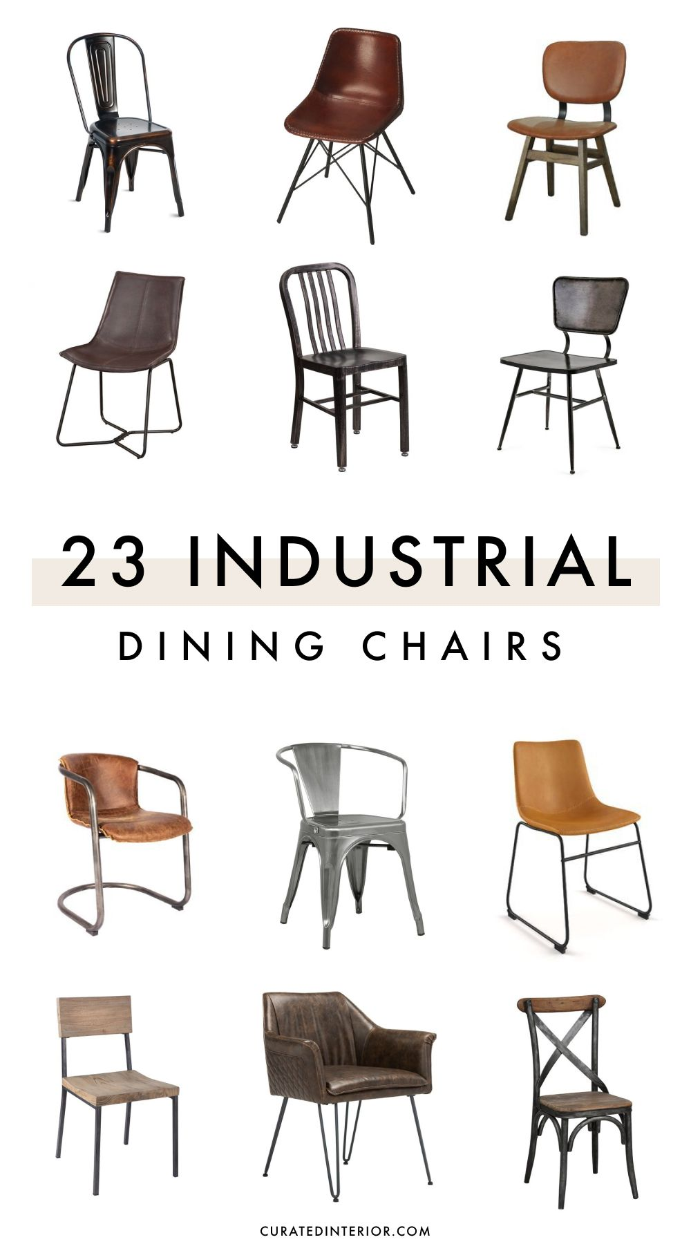 23 Industrial Dining Chairs Made of Metal and Wood