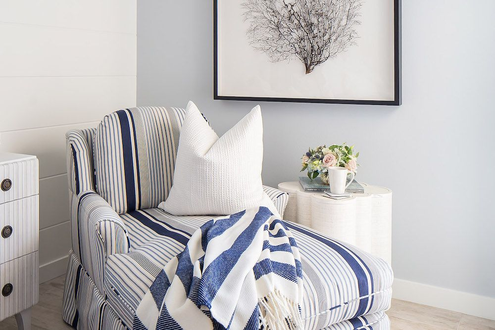 Blue striped chaise lounge via tracylynnstudio