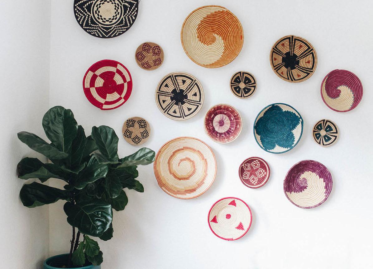 Bohemian basket weave wall decor